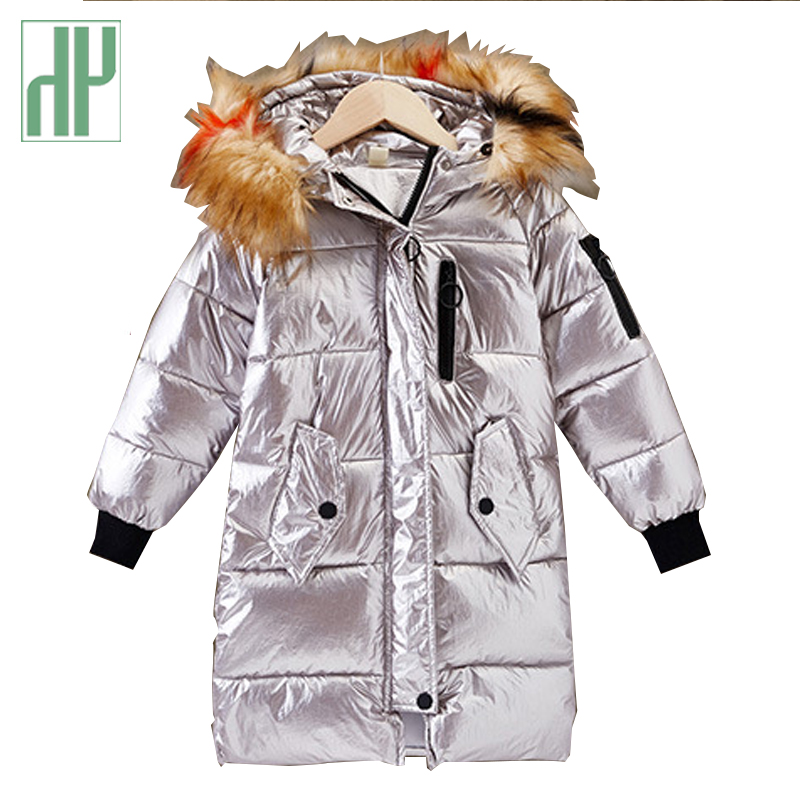 HH Russian Toddler girl winter silver parka real fur hooded coat kids snowsuits winter Teenager long down jacket 4 6 12 years long style male parka hooded real fur coat winter black fur male jacket free freight