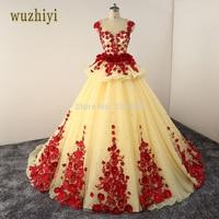 Wuzhiyi Long Sleeves Muslim Wedding Dresses 2017 Custom Made Vestido De Noiva Princesa Pink Vintage Wedding