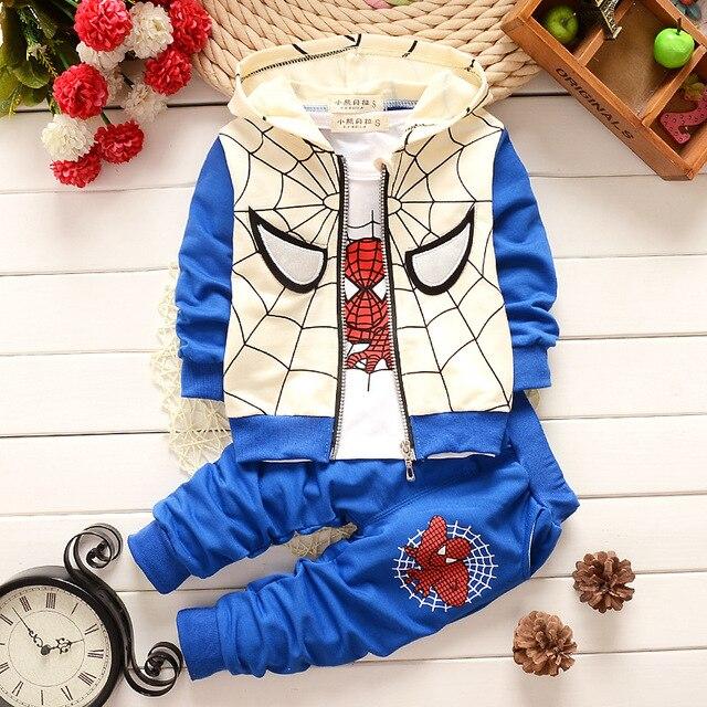 Весна осень baby boy девушка одежда мультфильм супермен пальто + Длинные рукава Верхней + брюки 3 шт. спортивный костюм одежда для новорожденных наборы bebes
