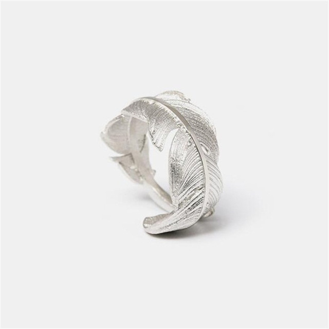 Flyleaf 925 Sterling Silver Feather Open Rings For Women Original Handmade Lady