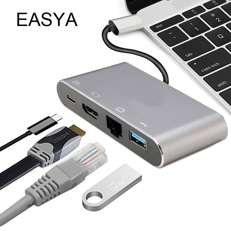 EASYA Multifunction USB C Hub to HDMI Rj45 Gigabit Ethernet Adapter with USB 3.0 Hub USB-C PD Charging Port for Macbook Pro usb type c pd wall charger fast charging power adapter for new macbook pro dell 9350 acer r13 samsung asus hp
