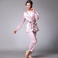 PS0173 Brand 2 Pieces Pajama Set Satin Silk Pyjamas Spring Autumn Full Sleeves Robe Ladies Full Long Pants Soft Sleepwear Pijama