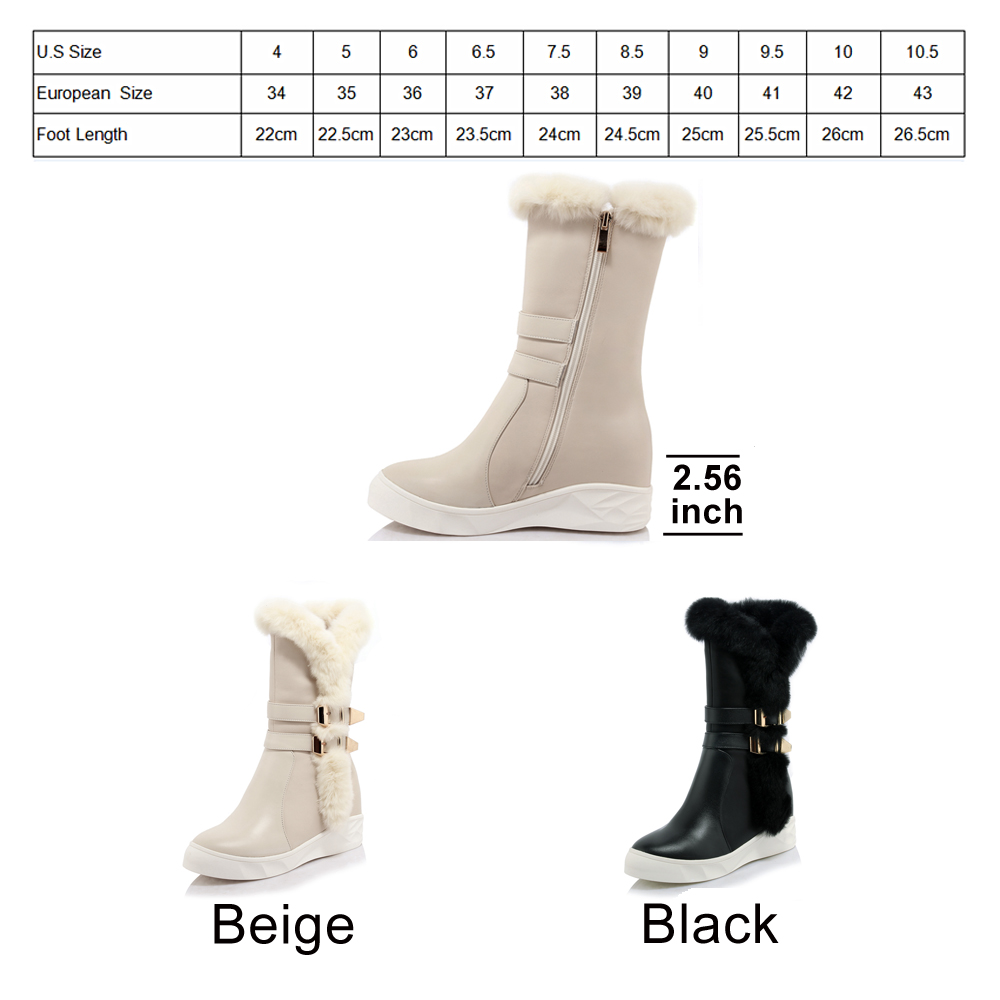 31ff976a2f9 Aliexpress.com   Buy FOREADA Genuine Leather Snow Boots Winter 2018 Real  Fur Women Mid Calf Boots Plush Buckle Platform Wedge Heel Boots Zip Shoes  from ...