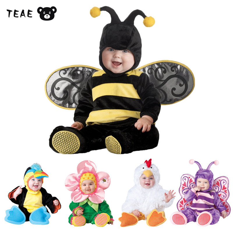 TEAEGG Cute Newborn Baby Boys Girls Bee Flower Anmal Cosplay Overall Romper Set Birthday Party Performance  photography Jumpsuit newborn baby halloween vampire cosplay jumsuit toddler boys girls funny cute clothes set kids photography props birthday gift