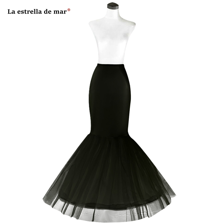 Wedding Accessories La Estrella De Mar Underskirt New Black White 1hoops Tulle Sexy Mermaid Wedding Petticoat Stock Enaguas Para El Vestido De Boda Beneficial To The Sperm Petticoats
