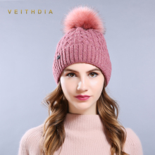 VEITHDIA High Quality Women Winter Hats Fashion Link Type Knitted Hat Female Girl Double thickening Fur Fur Pompoms Beanies 034