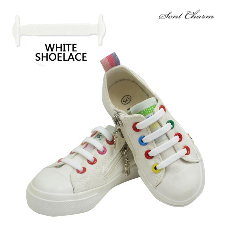 SENTCHARM 12PCS/Lot Children Easy No Tie Shoelaces Elastic Silicone Flat Shoe Lace Set For Kids