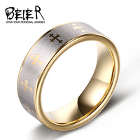 Beier 100 Real 2015 Hot Sale UK US 8mm Gold Tungsten Ring Polished Men S Wedding