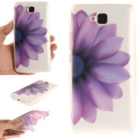 For Xiaomi Redmi MAX Purple sunflower prints Soft rubber silicone rubber back glueTPU