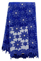 New Arrival Royal Blue African Lace Fabric 2016 High Quality Lace For Wedding French Sequins Net Lace With Beads WF001