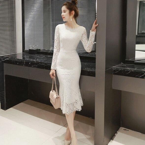 Women Summer Lace Dresses 2020 O-neck Elegant Sexy Mid-Calf Sheath Long Sleeve Formal Party Black Long White Dress Women Clothes