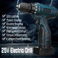 25V LED Light Cordless Power Drill Dual Speed Li ion Battery Electric Screwdriver Waterproof Motor Torque Screw Power Tools