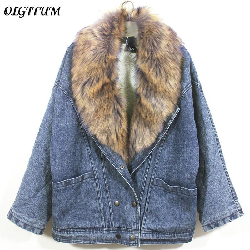 2018 Newest Winter women fashion denim jacket Removable fur collar jacket Lamb denim coat Bomber Jacket bat sleeved loose coat