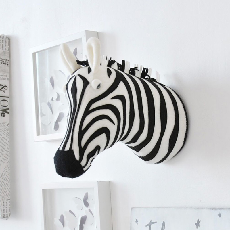 3d Animal Head Wall Mount Zebra Elephant Giraffe Stuffed Toys