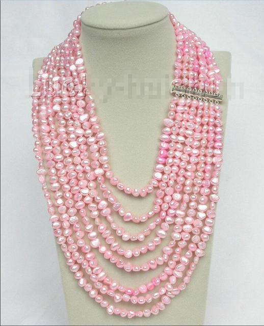 "Venda Hot new Style >>>>> 17 ""-24"" 8row barroco j8754 luz rosa pérolas colar 925 fecho de prata"