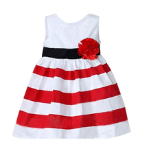 Kids Girls Baby Clothes Dresses Sleeveless Striped
