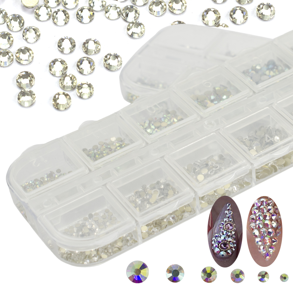 Nail Art Rhinestones Set Crysal AB/Clear Gold Base 12 Grids Mixed 6 Size Glass Stones DIY Glue Flatback Nail Decorations CH387