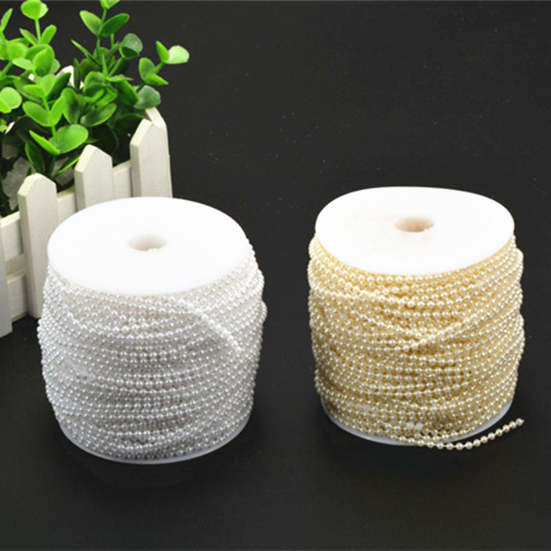 10m in length 3mm Bead Pearl String (White/Beige) for Craft , Wedding Decoration Loose Line