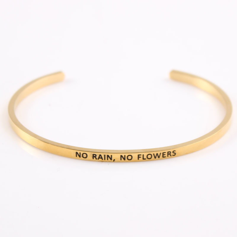 2018 316L Stainless Steel Open Cuff Bangles Bracelets Gold Color fashion Namaste Inspirational Mantra