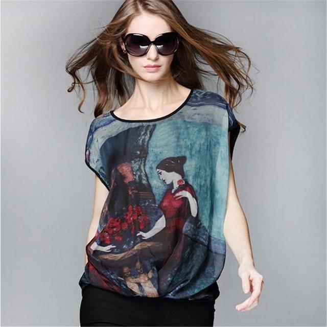 2016 verão nova Moda T-shirt Das Mulheres Do Vintage Pintura A Óleo do Sexo Feminino Casual solta Camisetas Tops de Manga Morcego Mulher Plus Size M-3XL