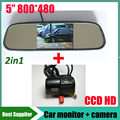 2in1 CCD Car Rear View Camera for Ford Transit reverse backup camera +5'' HD 800*480 rearview Mirror Monitor