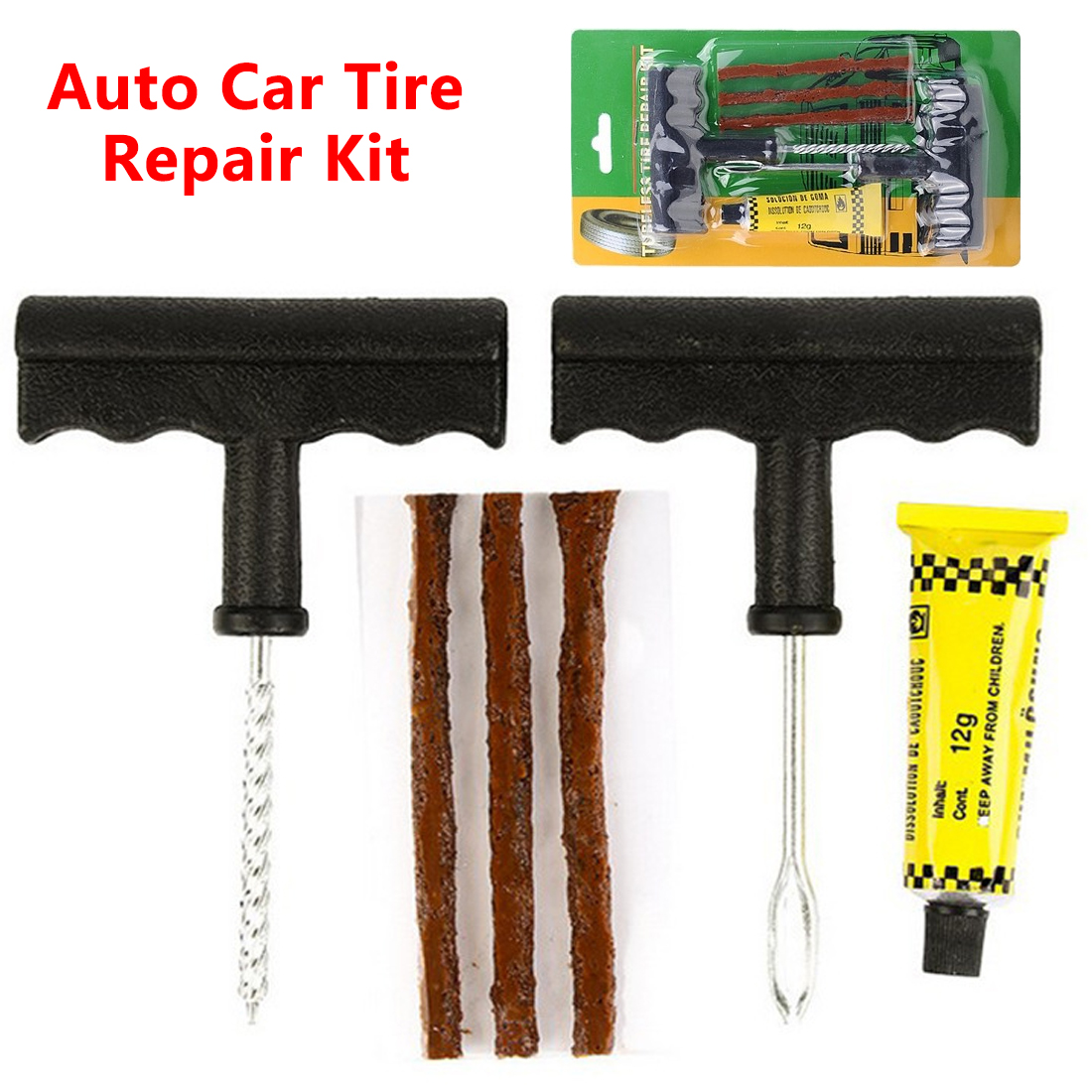 Auto Tubeless Tire Tyre Repair Kit Puncture Plug Repair Kit Hand Tools 6Pcs Car Accessories Auto Car Bike Tire Repair Tools Kit