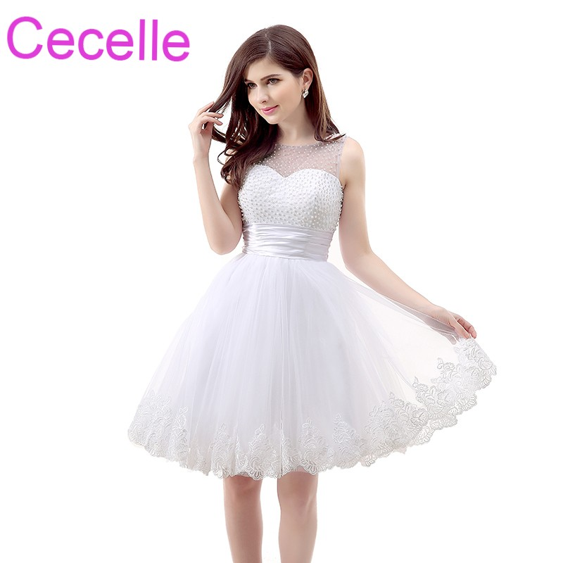 Ivory Short Cocktail Dresses 2019 Sleeveless A-line Tulle Pearls Lace Juniors Informal Semi formal Cocktail Party Gowns Custom