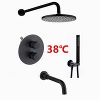 Матовый черный Термостатический смеситель для ванной комнаты латунный душевой набор настенный и Потолочный Круглый дождь Душевая Головка