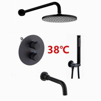 Double Head Shower   Matt Black Thermostatic Bathroom Shower Faucet Brass Bath Shower Set Wall & Ceiling Mounted Round Rain Shower Head IS667
