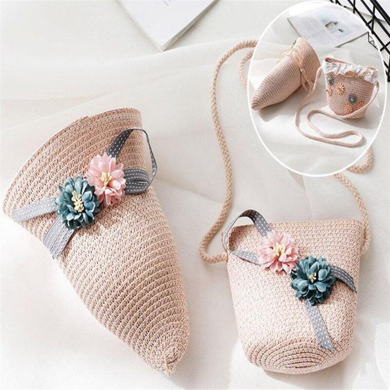 Baby Girls Children Straw Beauty Floral Hat Baby Sun Hat Girl Summer Cap Beach Visor Hat Straw Bag Two-Piece Sets 3