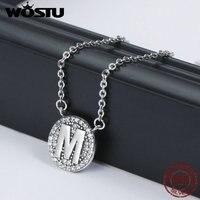 WOSTU Authentic 925 Sterling Silver Unique Exquisite Letter M A Alphabet Pendant Necklaces For Women Luxury