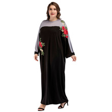 Купить с кэшбэком 185433 2018 Hot Fashion Muslim Abaya Bat Sleeve Loose Dress Embroidery Large Size Women's Middle East Arabia Plus Size Hijab
