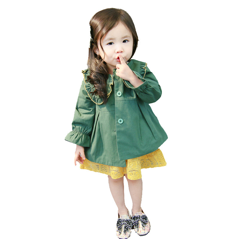 Dollplus Baby Girls   Trench   Coats Fashion Long Sleeve Korean Style Solid Color Jackets Loose Casual Lashing Coat Children Jackets