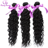 3 Bundles/Lot Brazilian Water Wave Human Hair Non Remy Weaving Extensions Natural Color #1B Can be Dyed Free ship Trendy Beauty