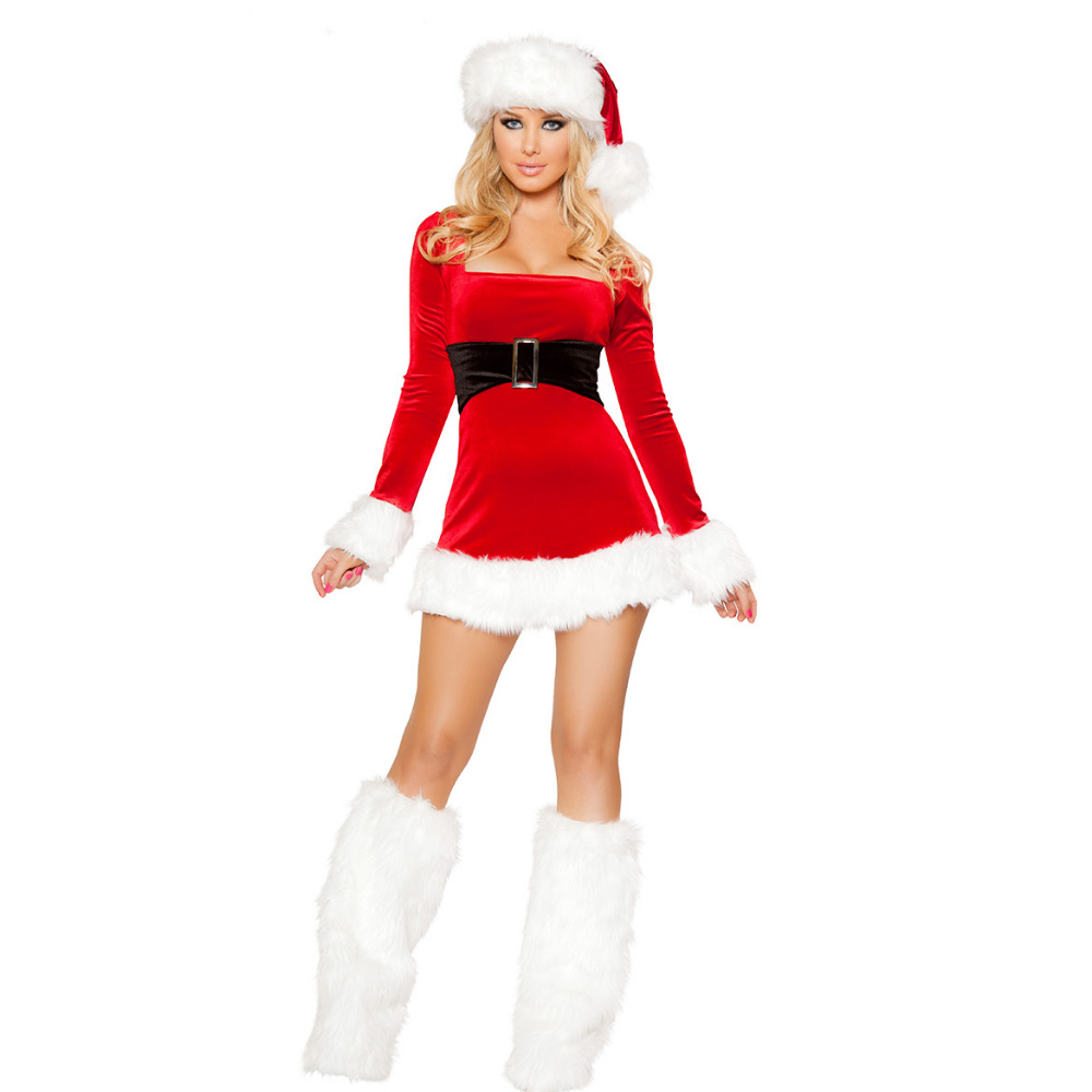 Real Photo-Sexy Women Christmas dress costumes Santa Claus For Adults Cosplays for Christmas Party