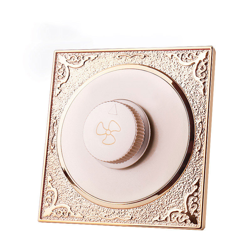 Champagne gold type 86 concealed ceiling fan governor variable speed switch panel knob fan speed switch