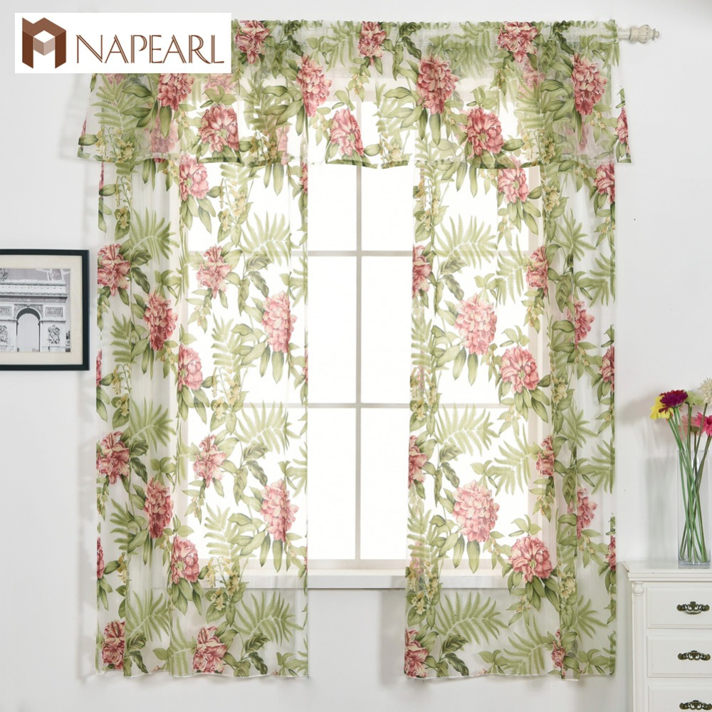 Valance Curtain Floral Design Green Short Curtain Kitchen Window Home Decoration Flower Curtain Set With Tiebacks Tulle Curtain