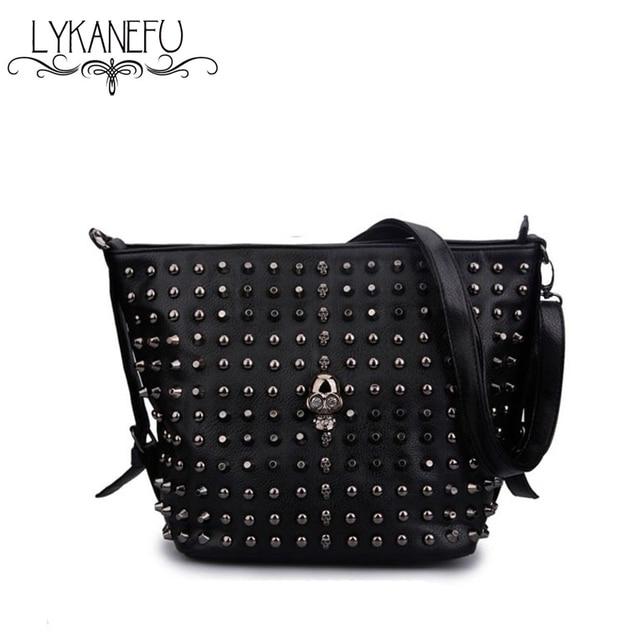 LYKANEFU Brand Skull Bucket Bag Women Messenger Bags Black Rivet Style Over Shoulder Crossbody Bags for Women Bolsas Femininas