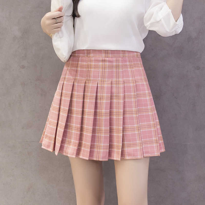 2b01f9f47cbc Women's Kawaii Plaid High Waist Pleated Student Skirts Harajuku A-Line Mini  Skirt Female Korean