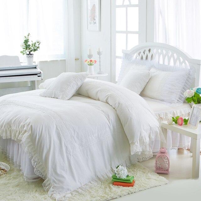 Princess White Bedding Set Luxury 4 6pcs Ruffles Duvet Cover Bed Skirt Bedspread Bedclothes Cotton