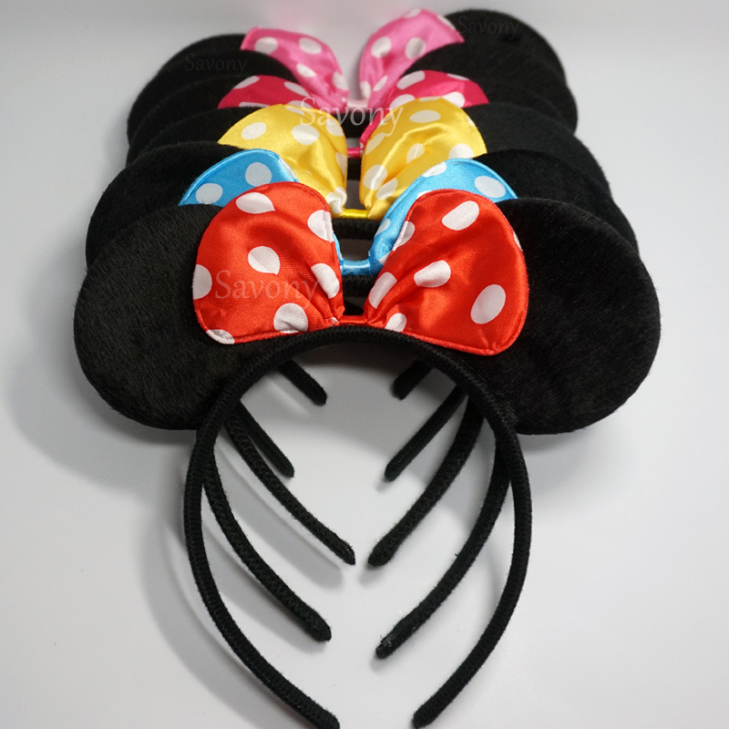 *40 PCS* 20 Mickey Ears Headband All Black 20 Minnie Black With Red Bow Headband
