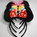 Vermelho bonito Arcos Minnie Mouse Ouvidos Partido Dos Miúdos Meninos Menina Adulto Mickey Mouse fontes Do aniversário Do Partido Hairband Headbands Acessórios