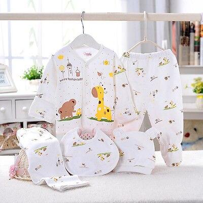 0-3M Baby Clothes set Newborn Boys Girls Soft Underwear Animal Print Shirt and Pants Cotton clothing 5 pcs