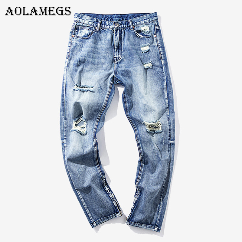 Aolamegs Biker Worn Blue Ripped Jeans For Men Holes Pants Mens Selvage Skinny Jeans Baggy Denim Cotton Trousers Fashion Brand
