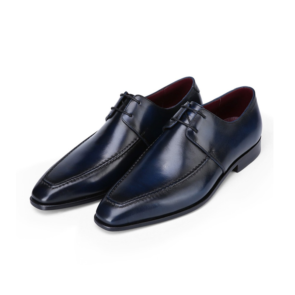 TERSE_Mens genuine leather dress shoes in blue goodyear welted derby shoes handmade flat formal shoes for male custom service