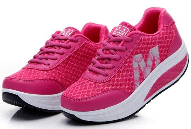 Г. женские дышащие летние женские кроссовки обувь на платформе, увеличивающая рост тонкие туфли на танкетке - Цвет: Red