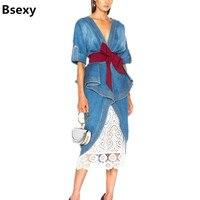 Sexy Elegant Women Denim dress 2018 Runway Double V neck Backless Ruffle Sash Wrap Midi Dress Front Split Ladies Jeans Vestidos