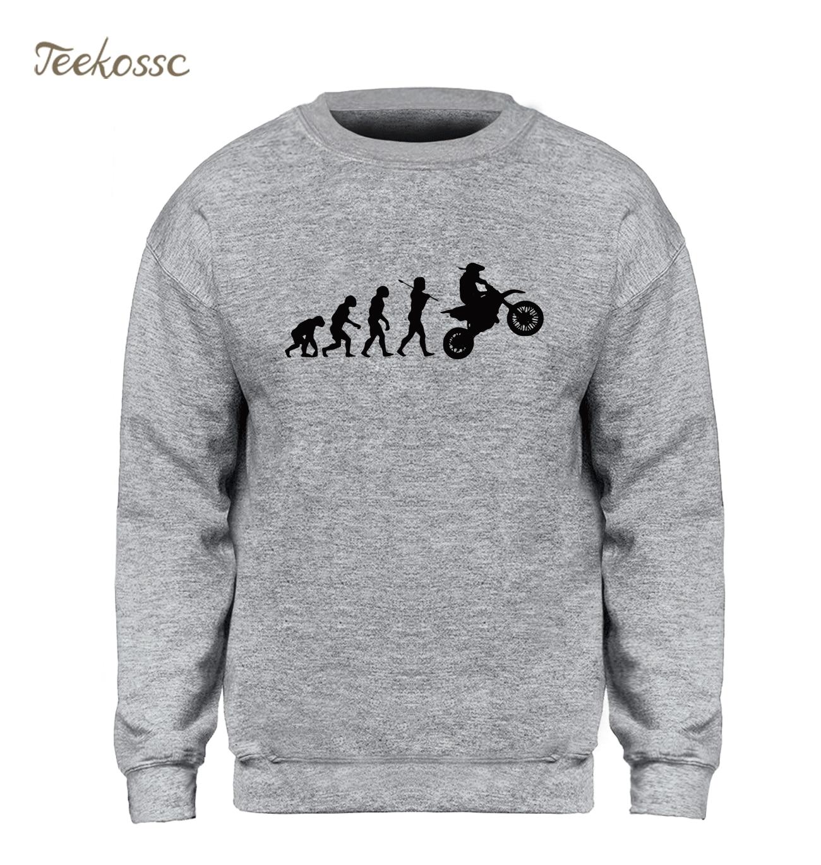 Dirtbike Evolution Motocross Sweatshirt Men Casual Hoodie Slim Fit Sweatshirts 2018 Winter Autumn Fleece Warm Gray Streetwear