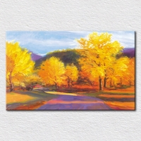 Canvas Prints Hand Painted Autumn Oil Painting Picture With Gold Color Trees For Living Room Decor