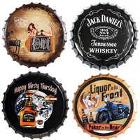 Beer Bottle Cap Whisky Vintage Plaque Metal Tin Signs Cafe Bar Pub Signboard Wall Decor Retro Nostalgia Round Plates Poster 35CM